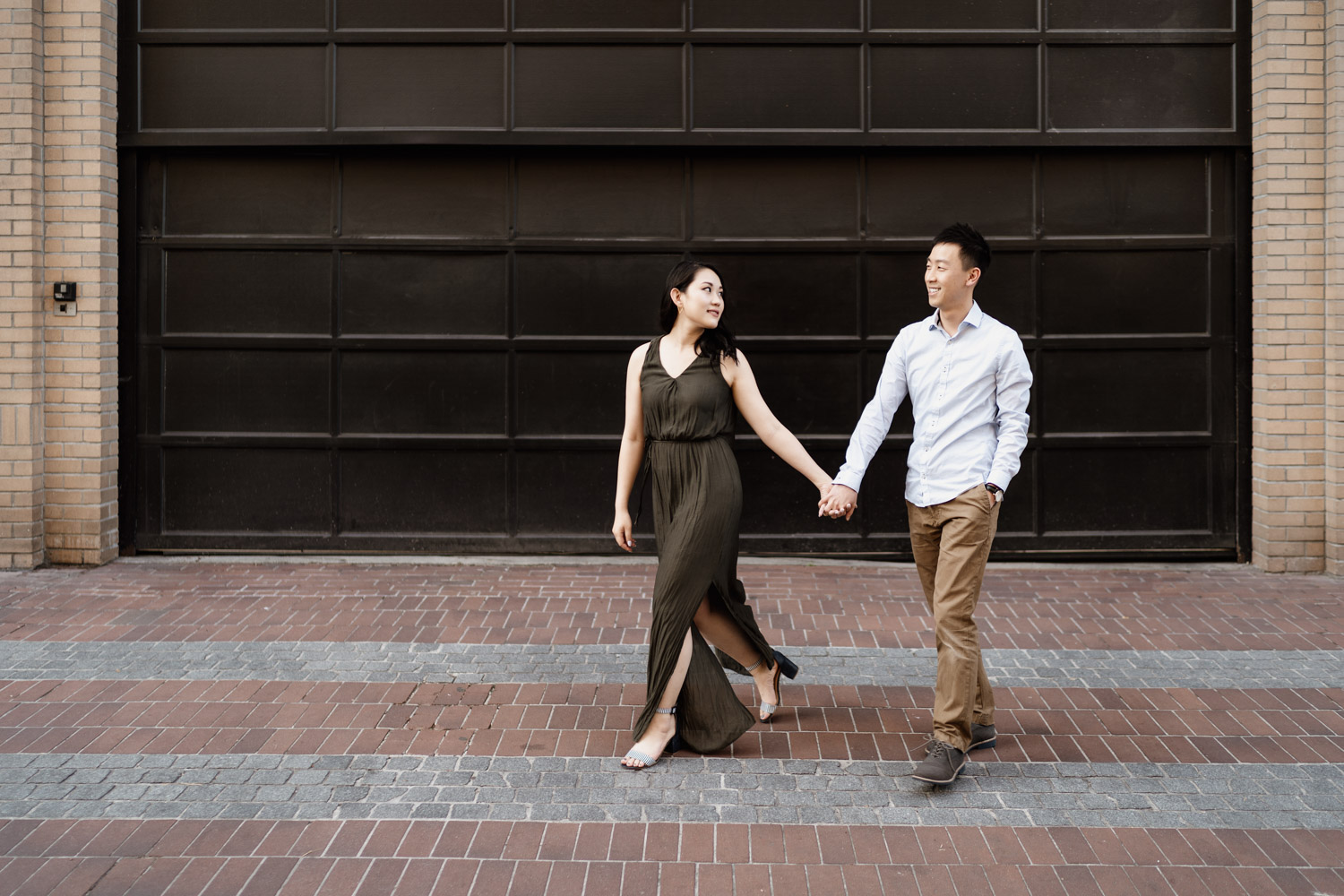 gastown engagement photography in vancouver bc during summer at sunset or golden hour