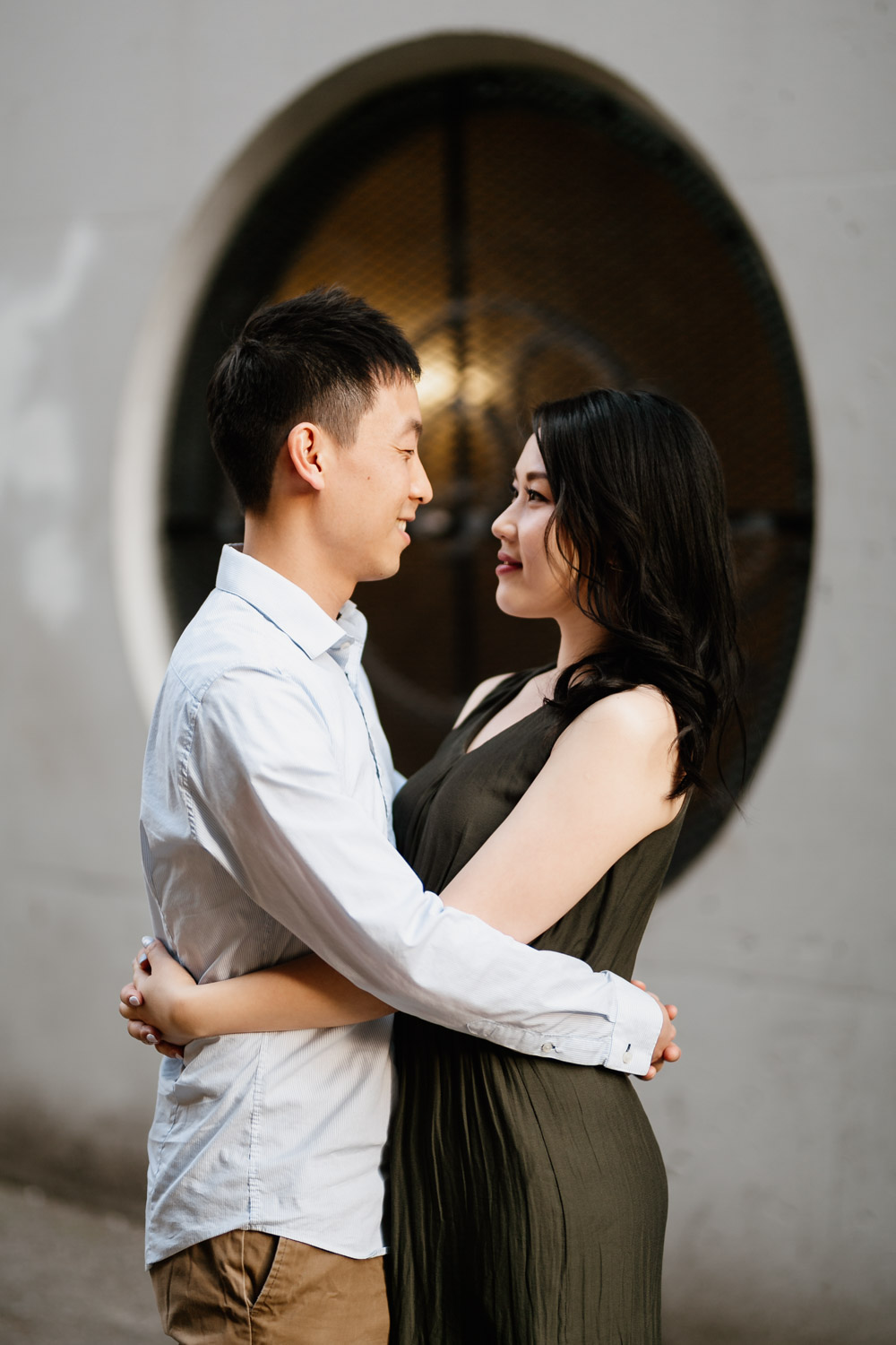 gastown engagement photography in vancouver bc during sunset or golden hour