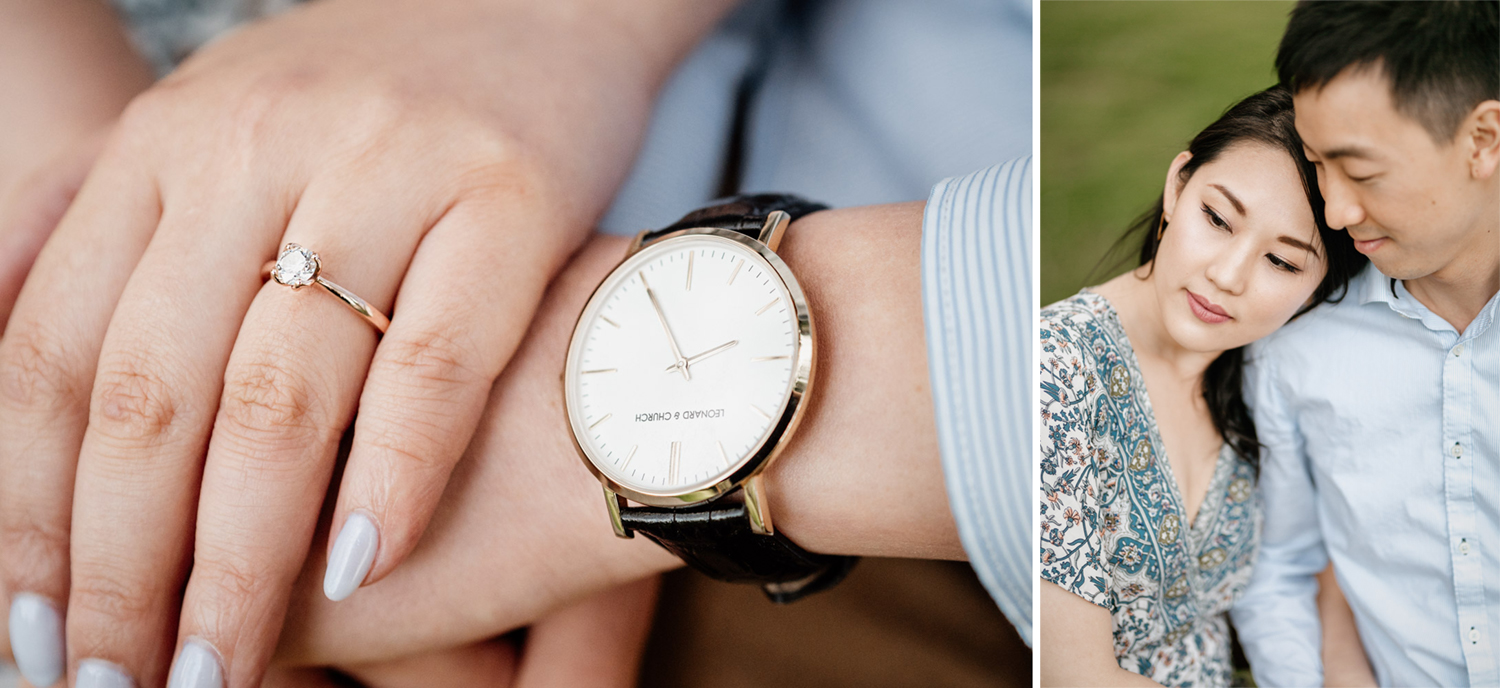stanley park rose garden engagement session engagement ring and men's watch details during golden hour or sunset