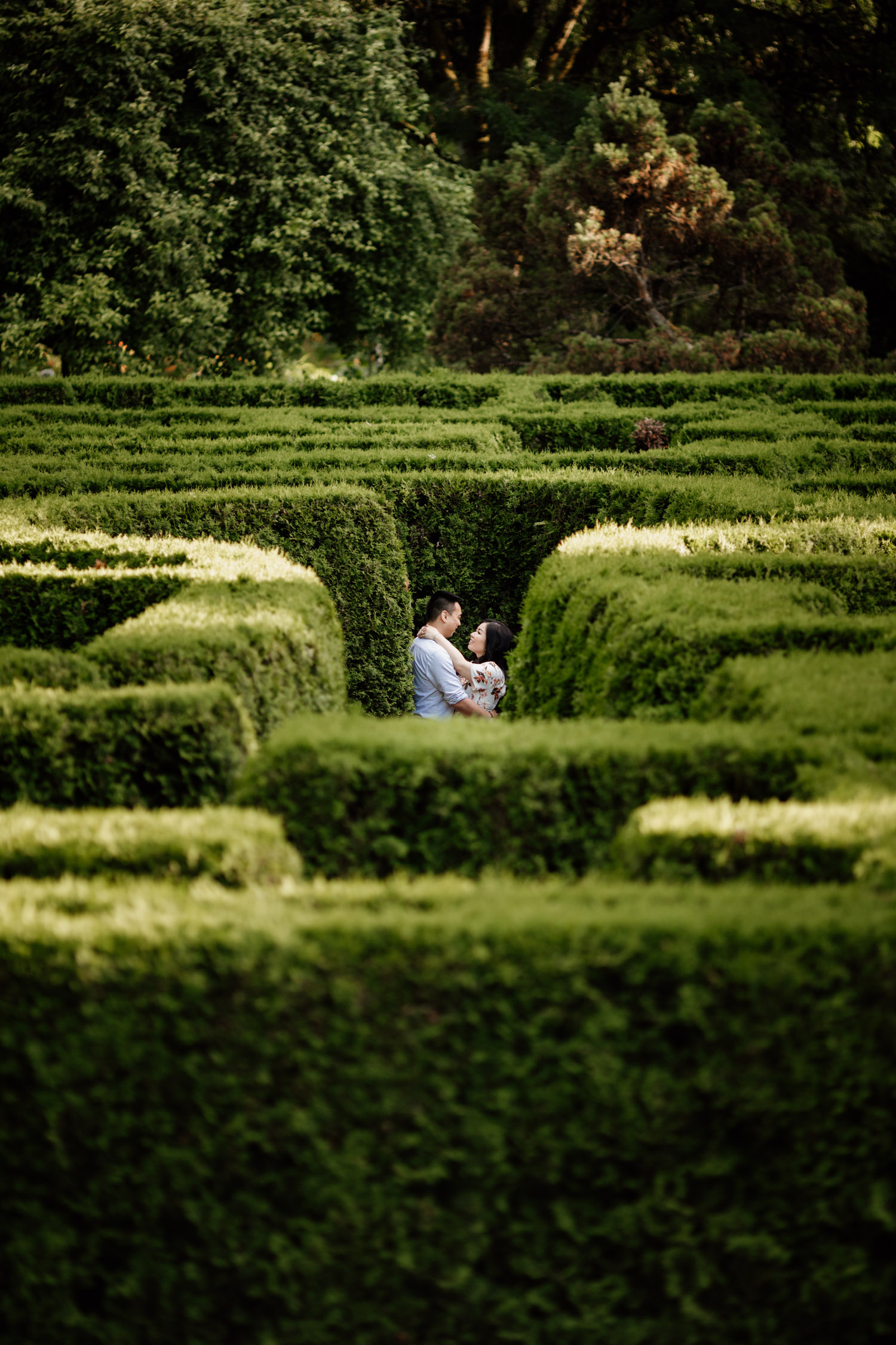 VanDusen Botanical Garden maze engagement photography in Vancouver BC during summer