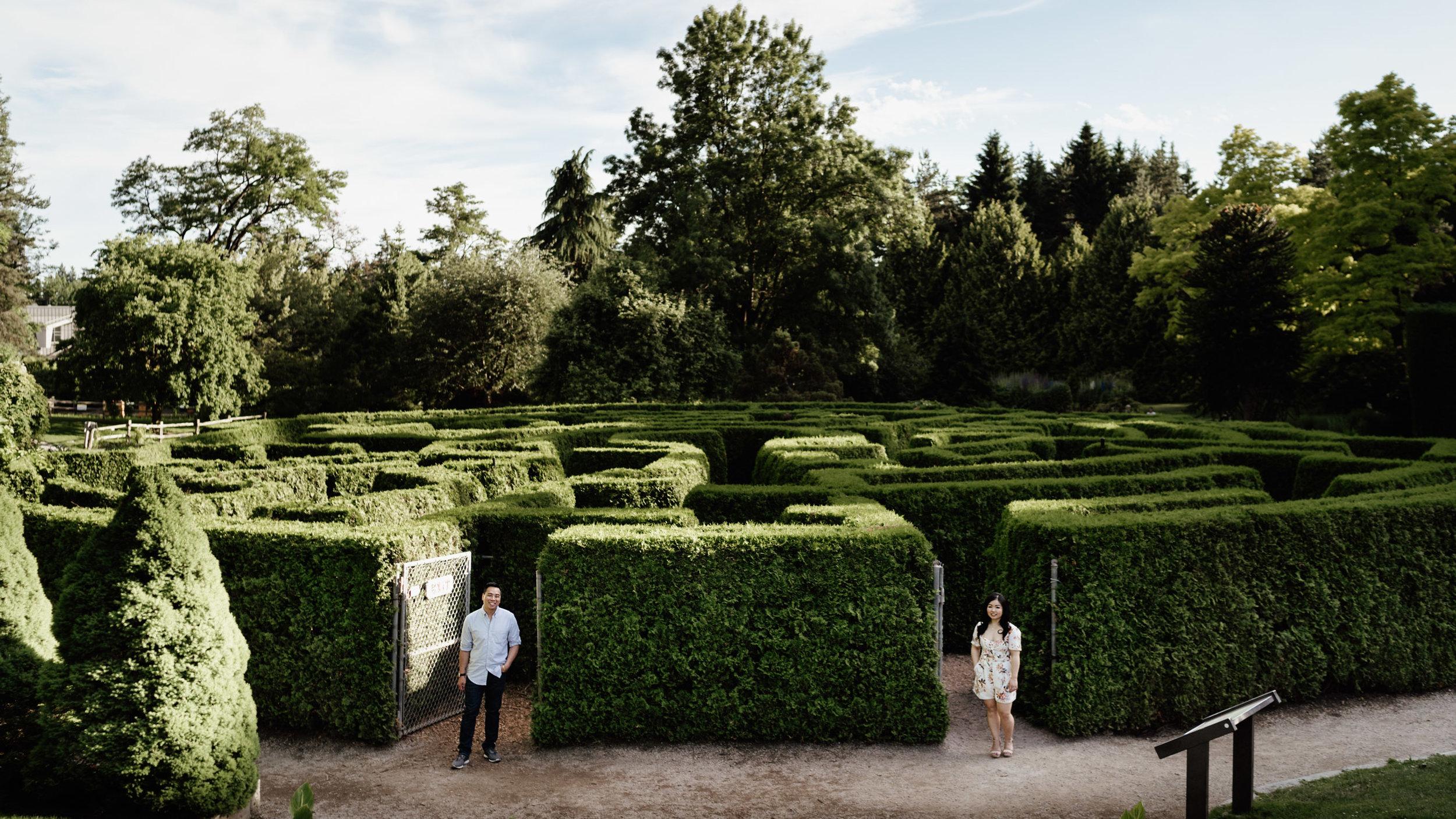 VanDusen Botanical Garden summer maze engagement photography in Vancouver BC