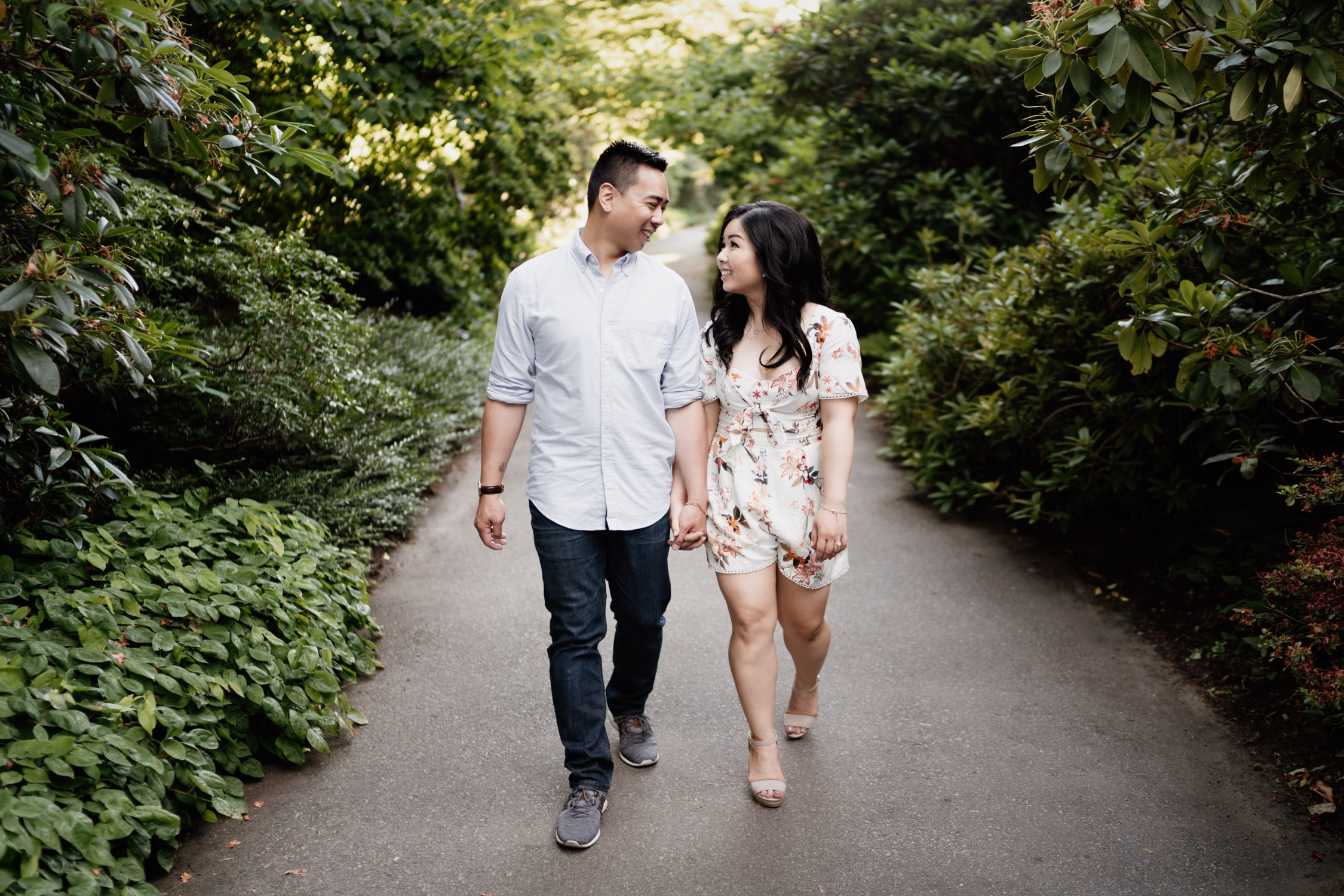 VanDusen Botanical Garden summer engagement photography in Vancouver BC