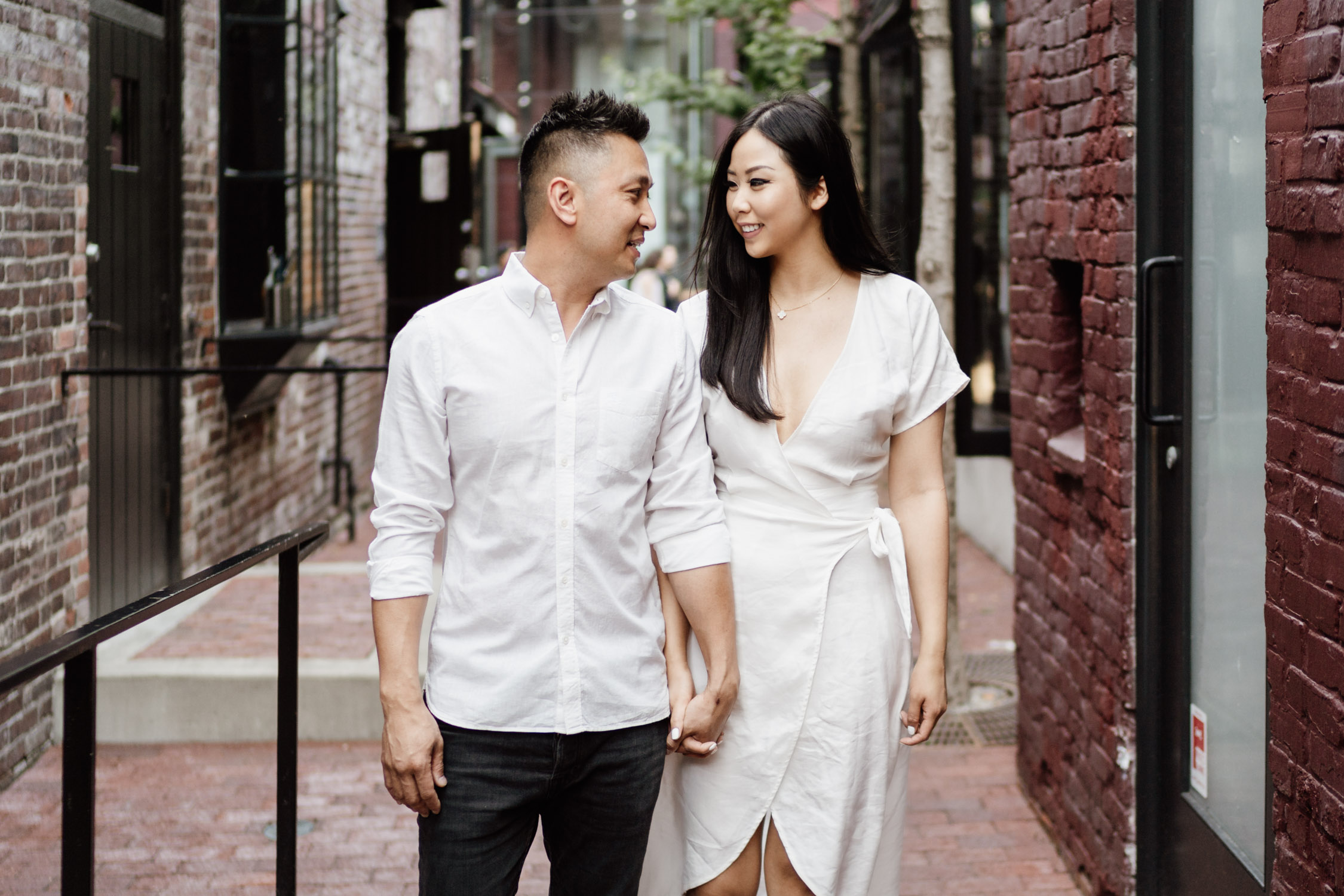 gastown engagement photography during golden hour in the summer located in vancouver bc canada