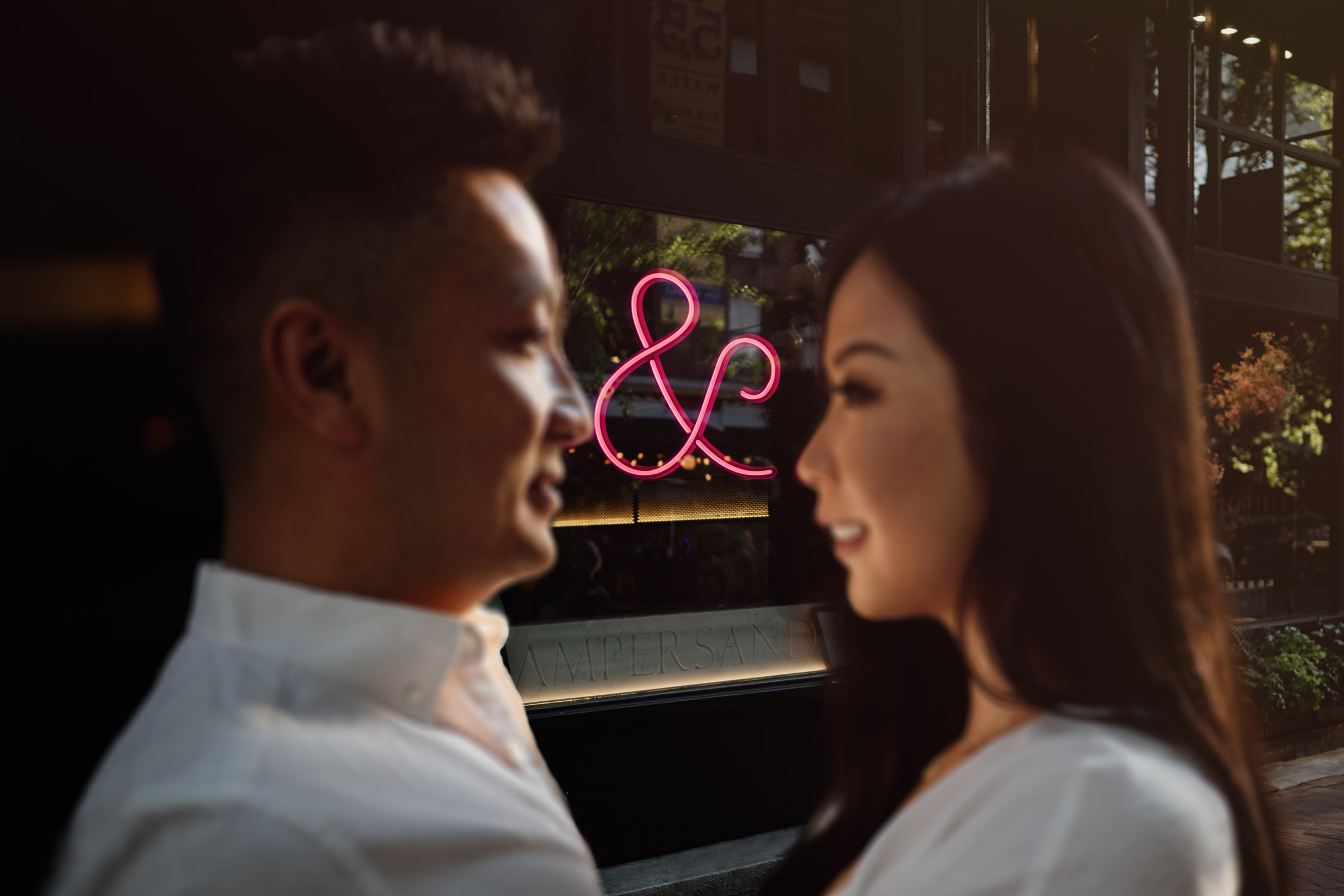 ampersand restaurant  gastown engagement photography during golden hour in the summer located in vancouver bc canada