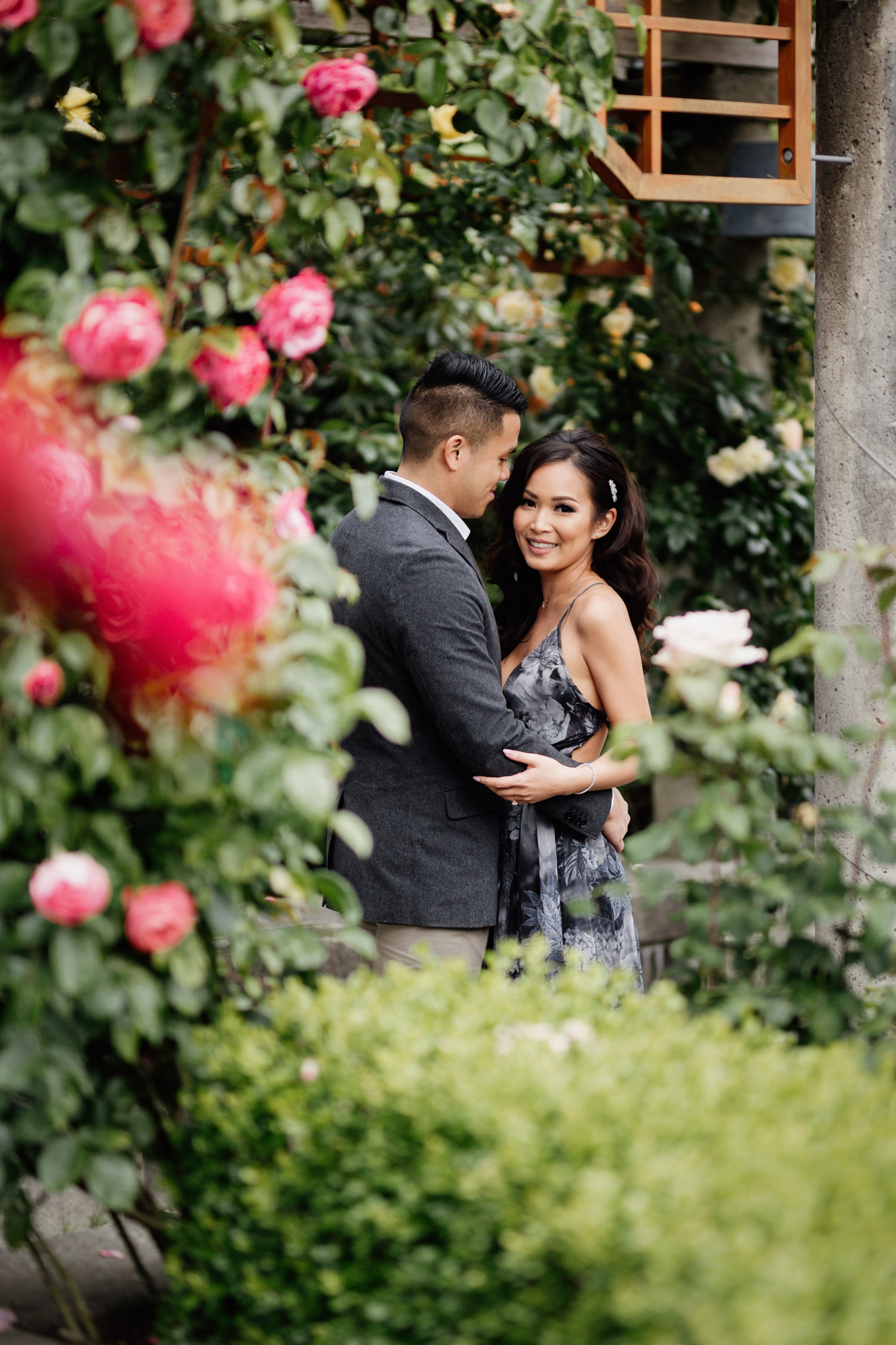 rose garden engagement photography at ubc vancouver bc