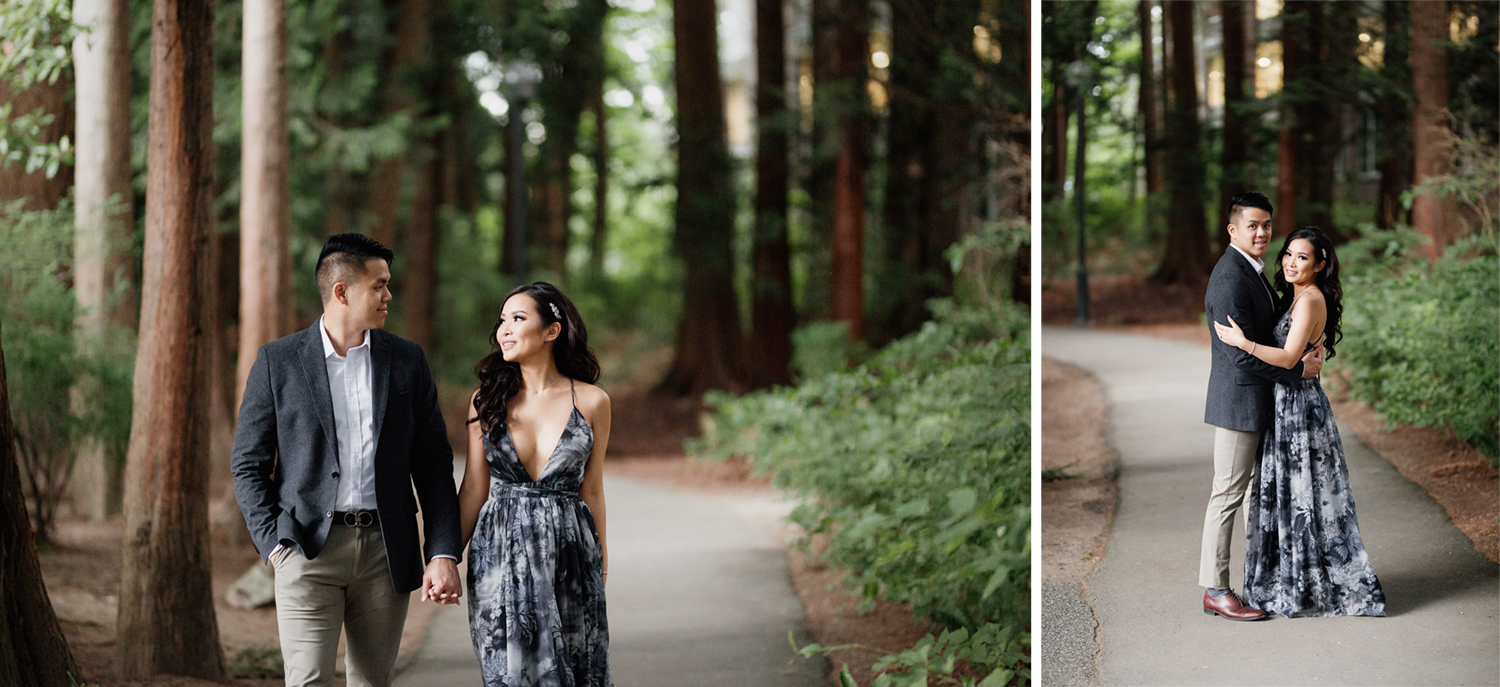 ubc forest engagement photography in vancouver bc during summer