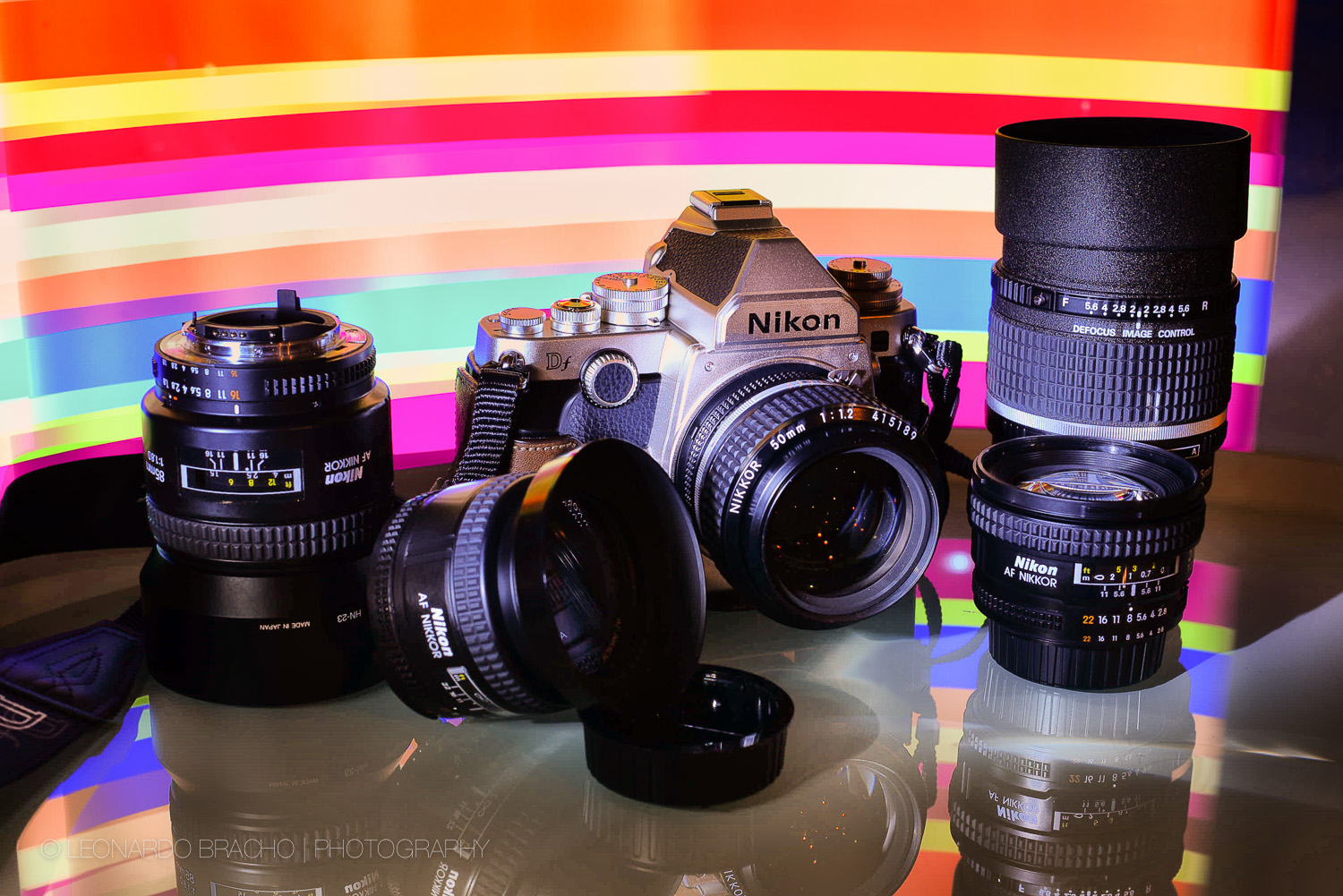 Nikon Df and Primes. Nikkor 85mm f/1.8D,  24mm f/2.8D, on board Nikkor 50mm f/1.2 AIS Manual, 20mm f/2.8D, and the sublime AF DC Nikkor 135 mm f/2.0D.
