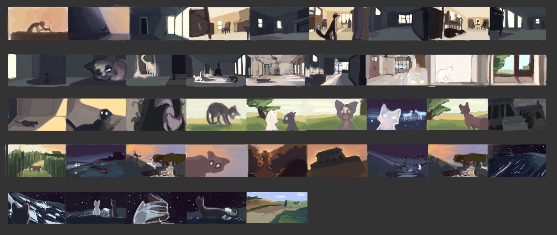 """Color keys for """"Homebound"""", my MFA thesis film at SCAD. Currently in production."""