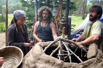 Making a brick oven at the rainbow gathering