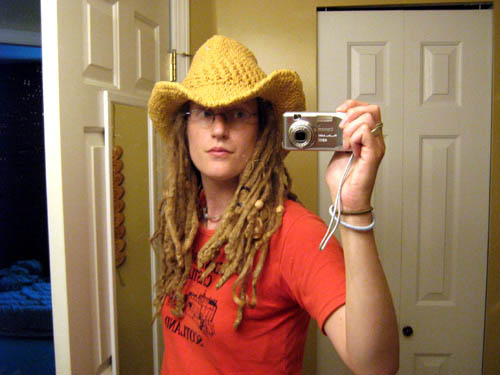 Crocheted cowboy hat