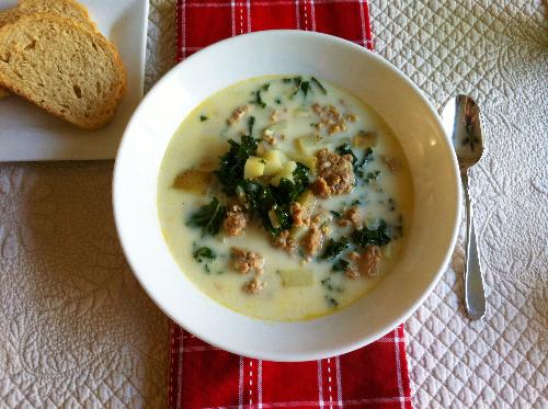 creamy kale & sausage soup | hello, sweetie!