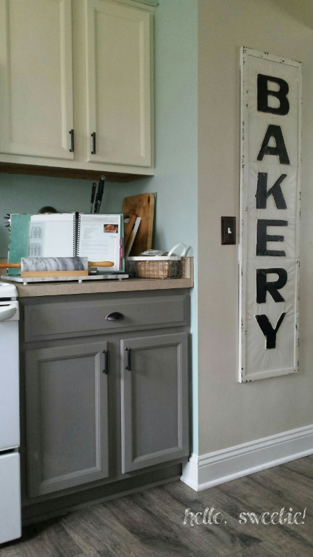 """cabinets complete! """"old white"""" uppers, """"French linen"""" lowers"""
