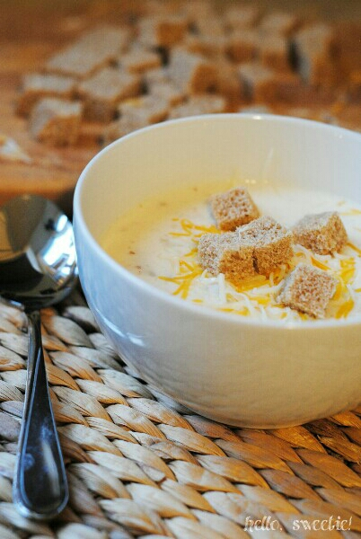 ceamy baked potato soup with pancetta