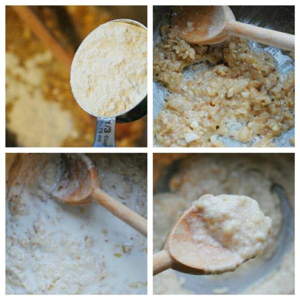 making a roux and gradually adding milk