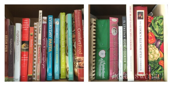 some of my favorite and most used cookbooks tucked into the small cupboards over the stove