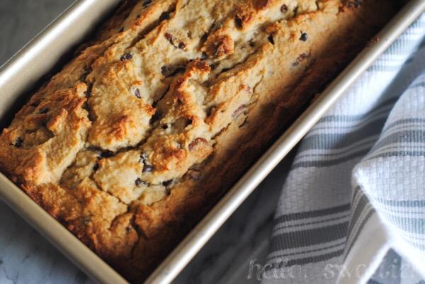 banana coconut quick bread with chocolate & pecans |hello, sweetie!