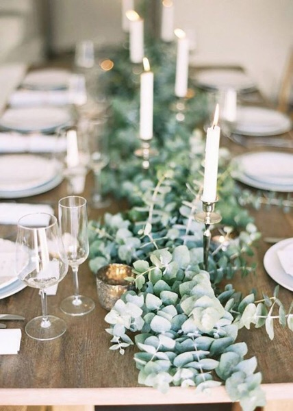 Eucalyptus is a beautiful and pungent table display! I especially like using it because there are so many different varieties to choose from.