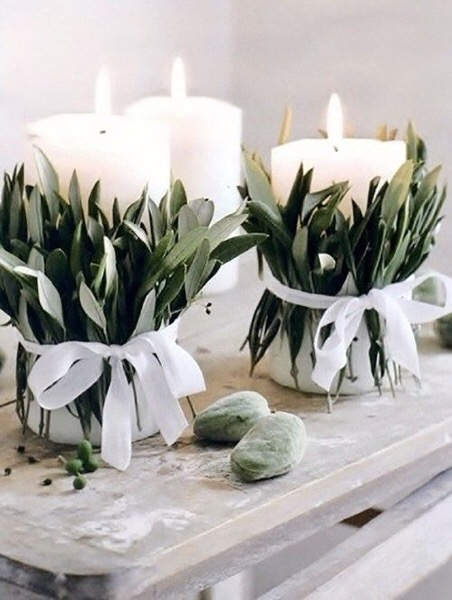 Wrapping herbs & other scented greenery around pillar candles is beautiful, creative & simple! (Image credit: weheartit.com)