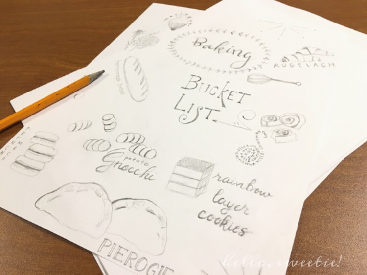 What doodling looks like to a baker... lots of food I want to make over the next year; with pictures instead of lists, and with better typography.