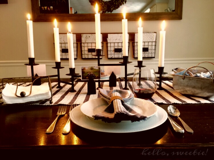 Adding taper candles gave us more light at the dinner table.