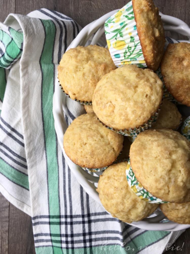 Bakery Style Lemon & White Chocolate Muffins | Hello, Sweetie!