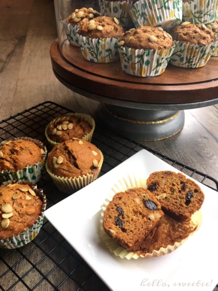 Healthy but cake-like Morning Glory Muffins