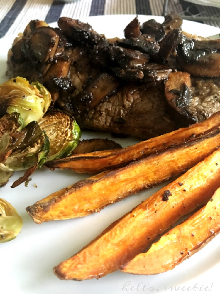 Skillet Ribeyes with Brussels Sprouts & Sweet Potato Wedges