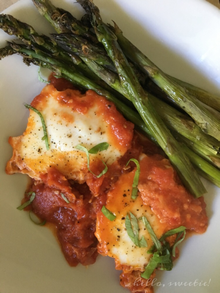 Whole 30 Eggs in Purgatory with Fresh Basil and Roasted Asparagus
