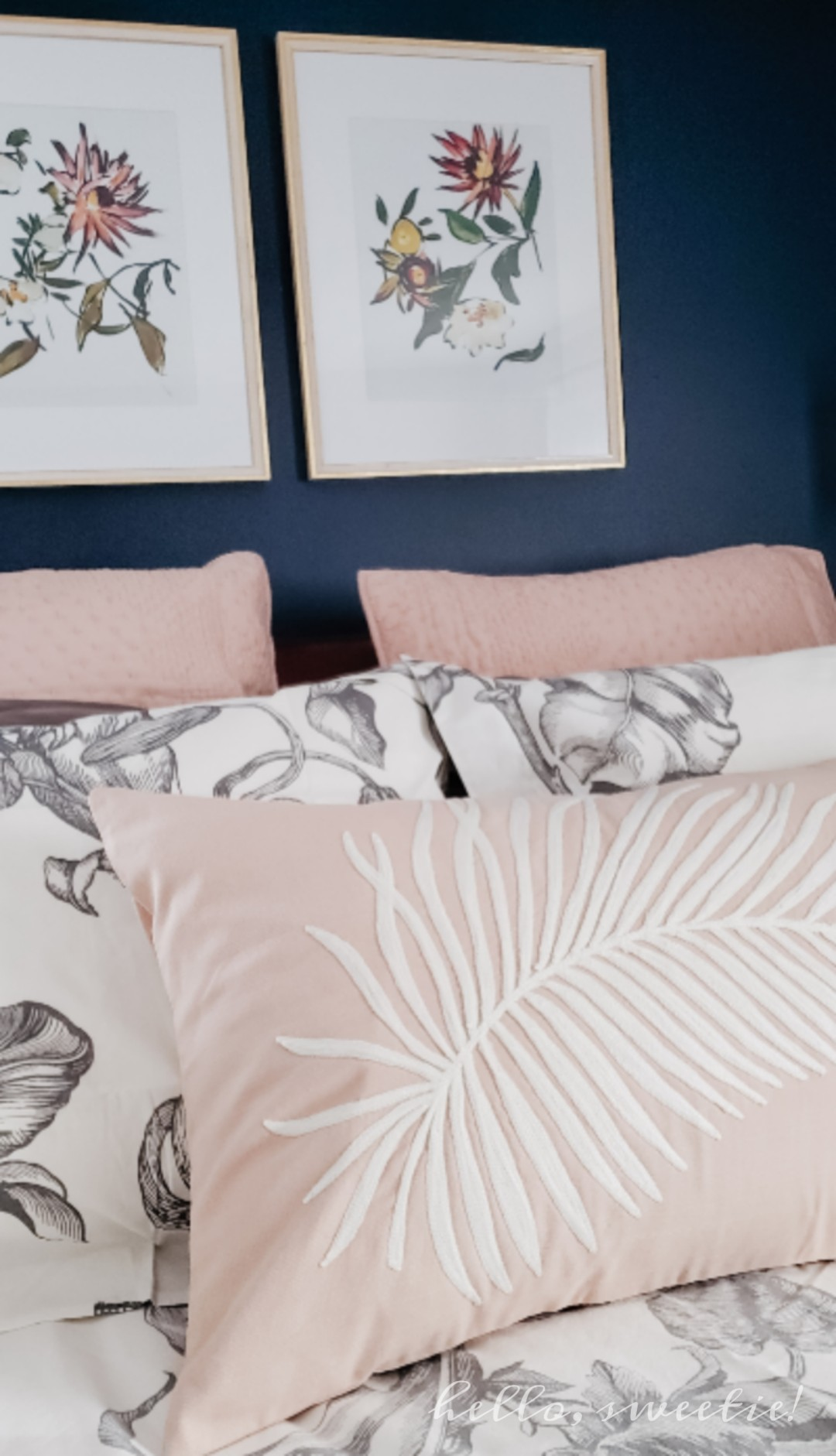 rose colored linens for the master bedroom