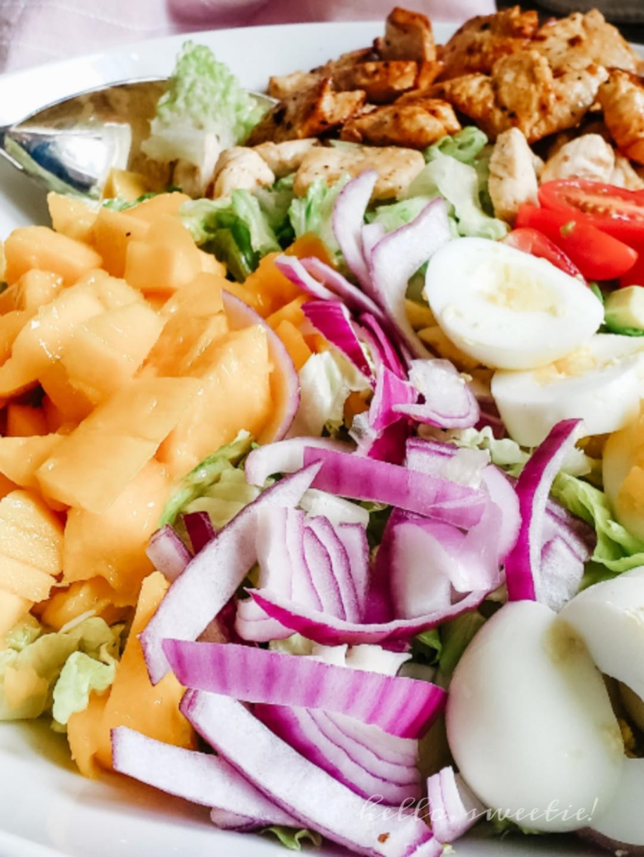 California Summer Salad, with mango, citrus marinated chicken and avocado.