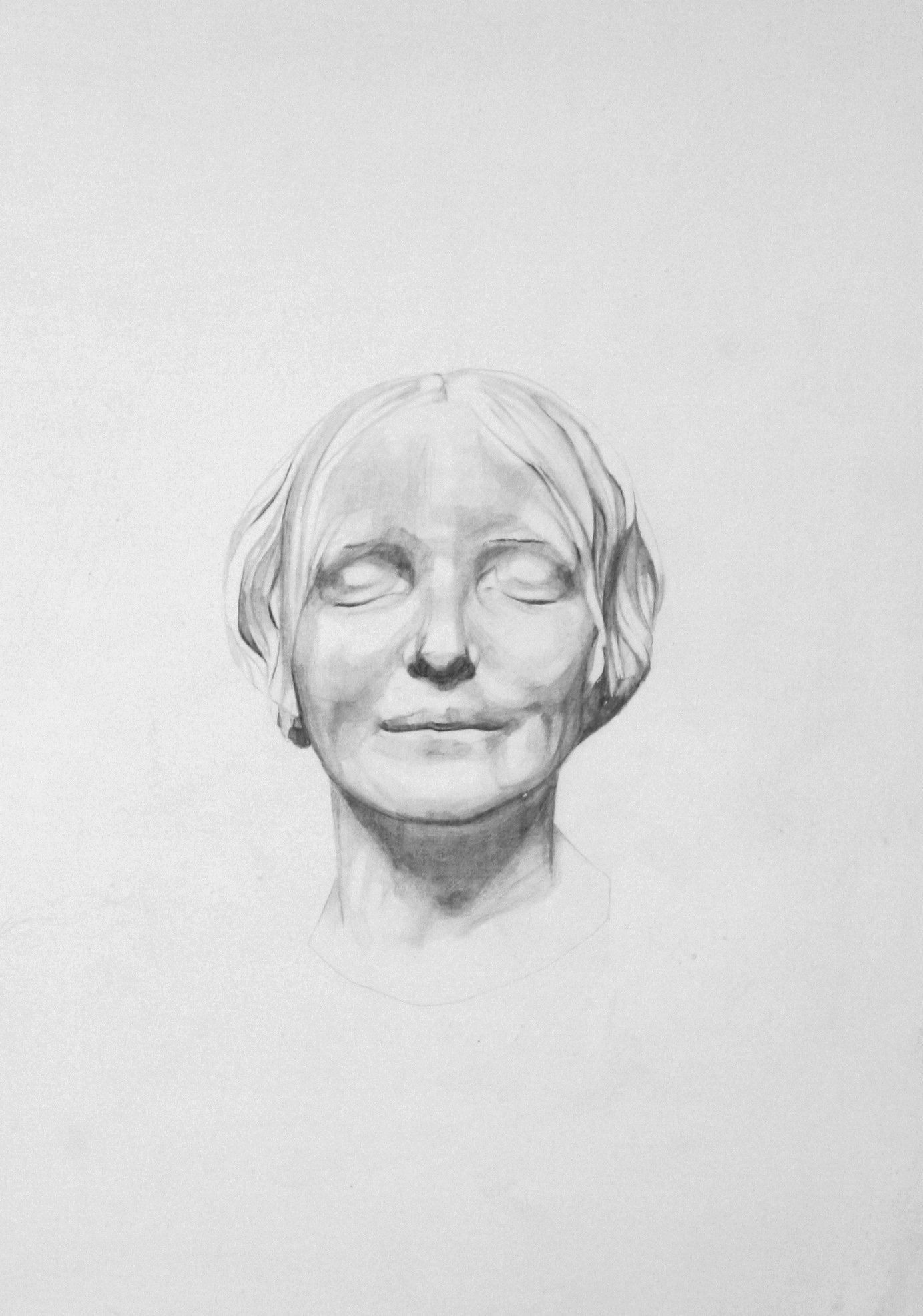 'L'inconnue de la Seine'  pencil on gesso board ,35 x 20 cm