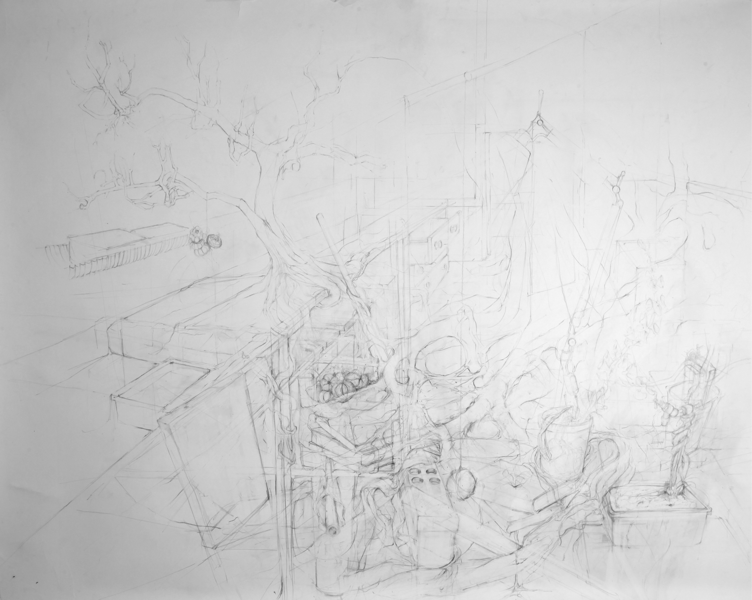 'A Cluttered Mind'   pencil on paper, 220 x 150 cm