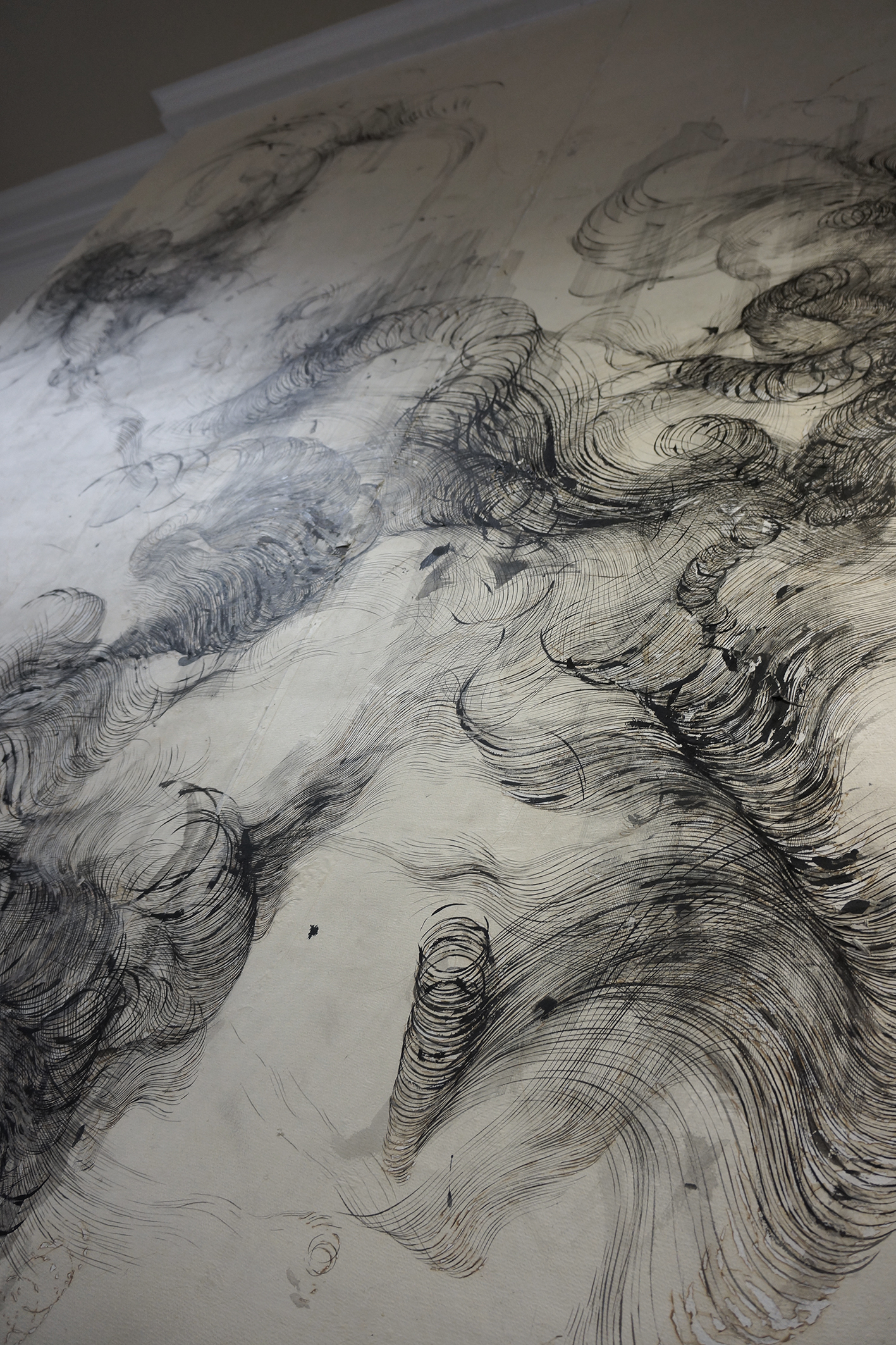 Detail of 'Anatomy of thought', ink and incense burnt gampi paper