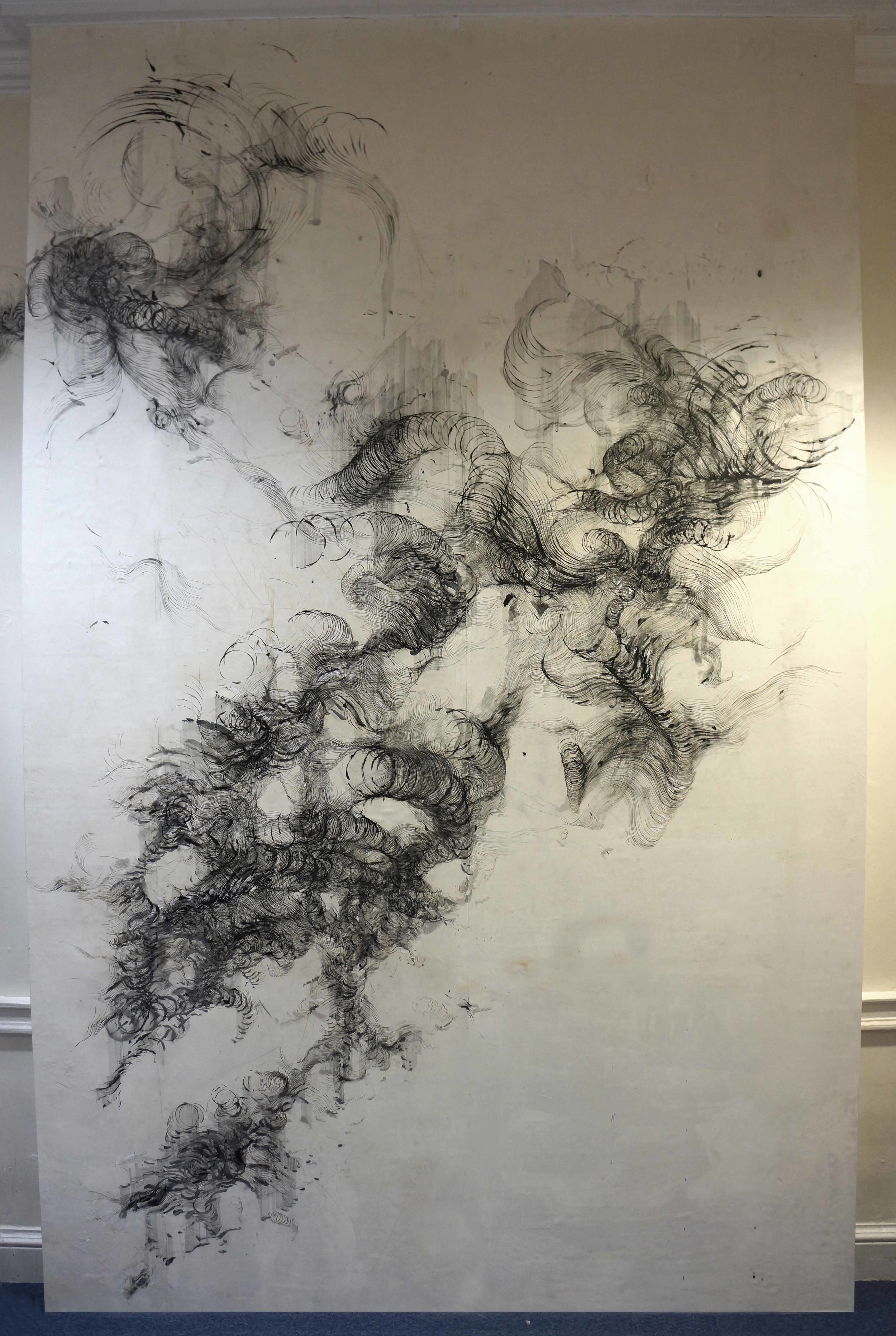 'Anatomy of thought', ink and incense burnt gampi paper on wall, 420 x 350 cm