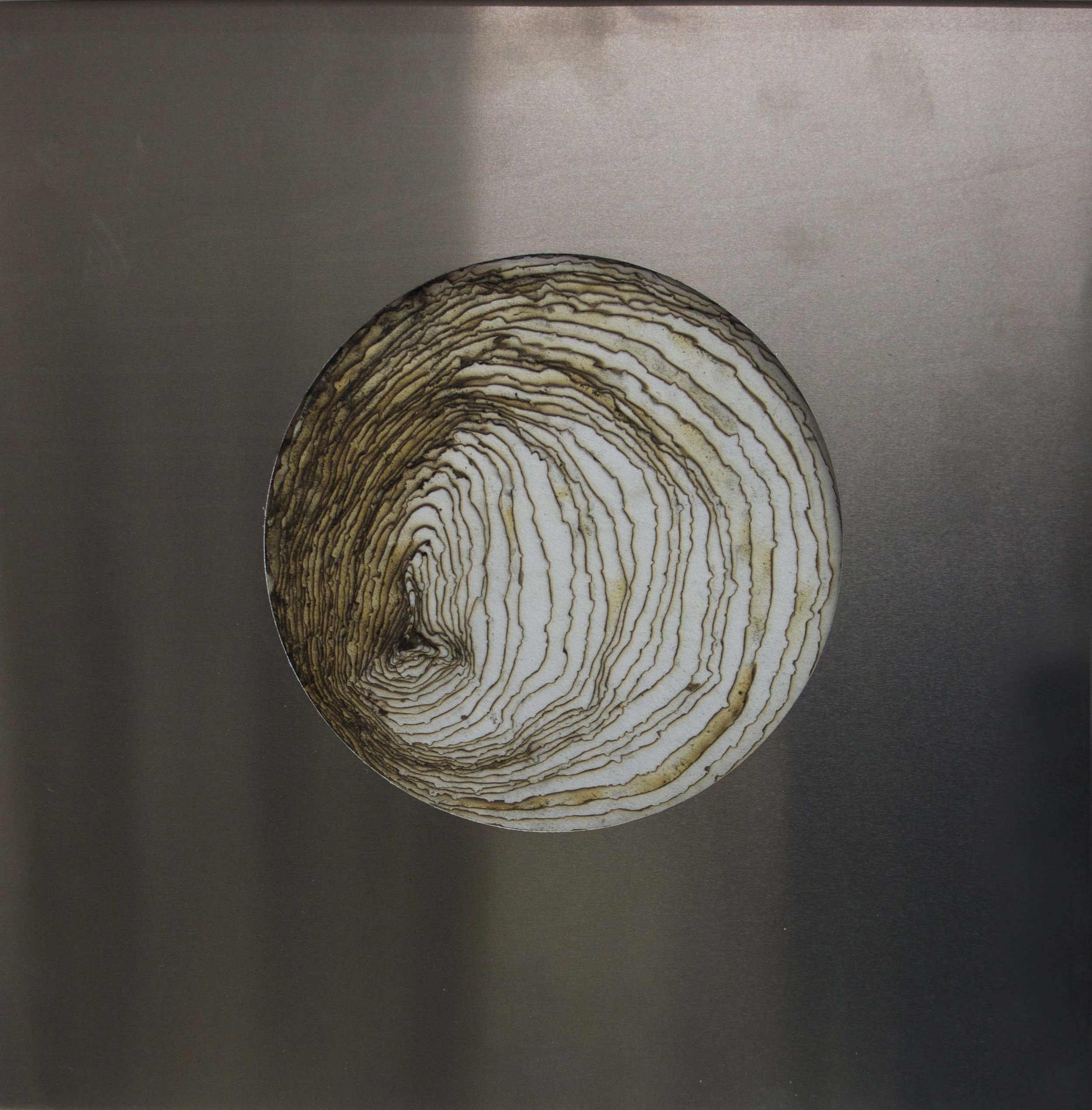 40 layers of incense burnt rice paper surrounded by steel, 30 x 30 cm