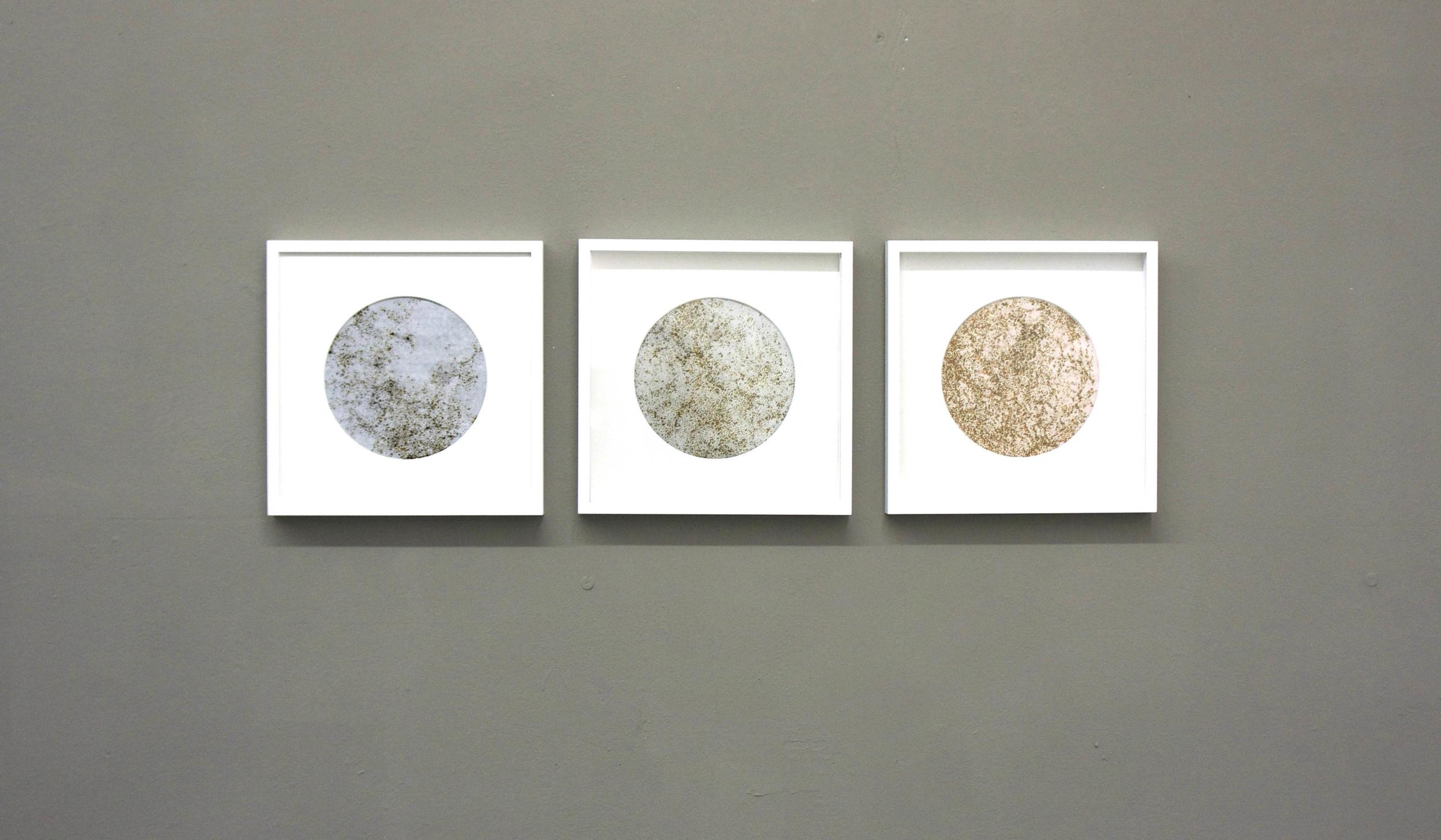 'Moon' series, 30 x 30 cm, burnt rice paper over copper, aluminium and black paper.