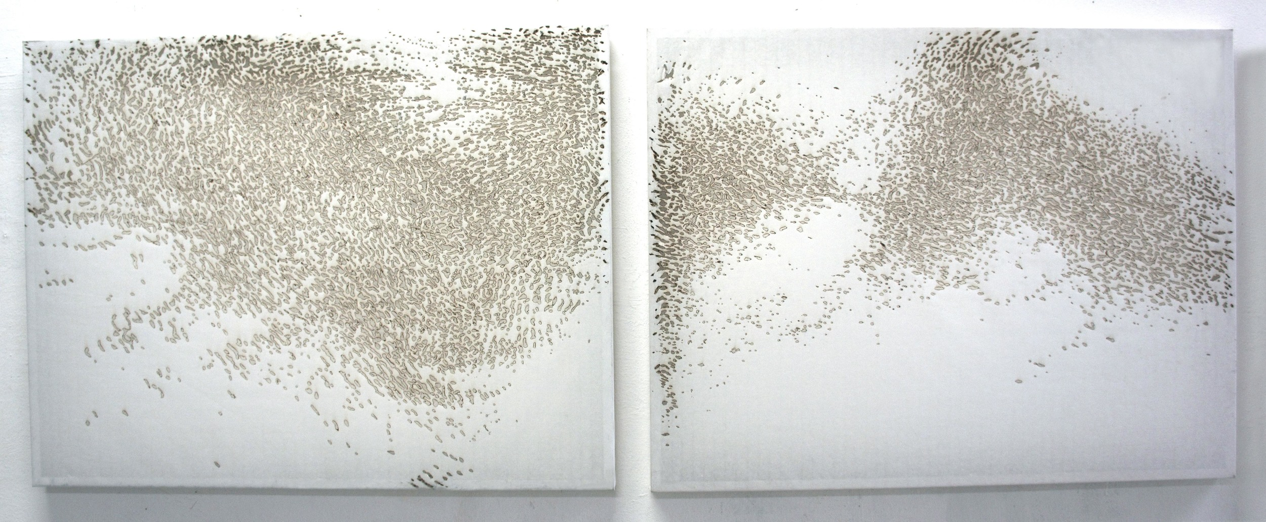 'Ebb II, III', two layers of incense burnt rice paper, 85 x 65 cm