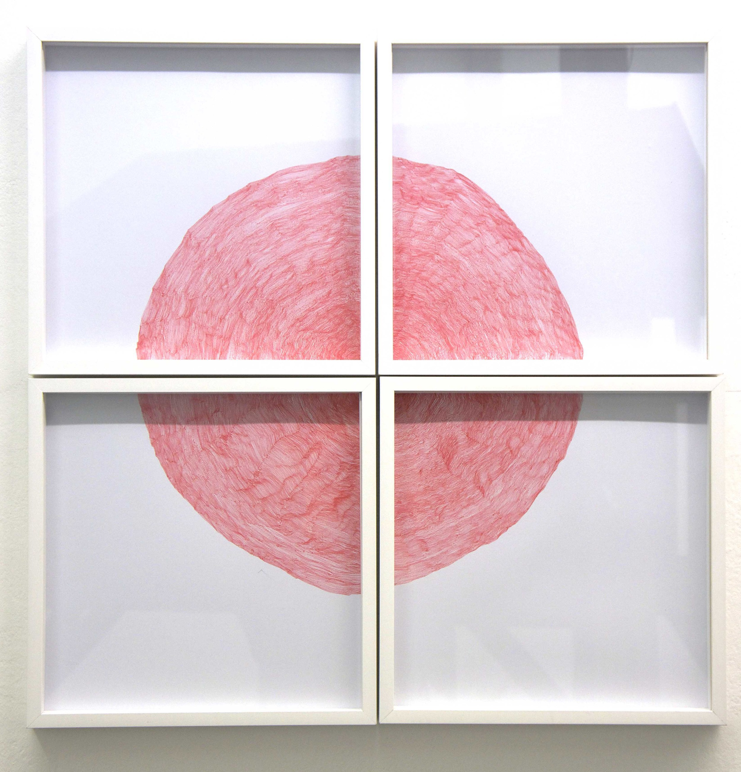 'From a single point (red)' , red ink on paper, 60 x 60 cm