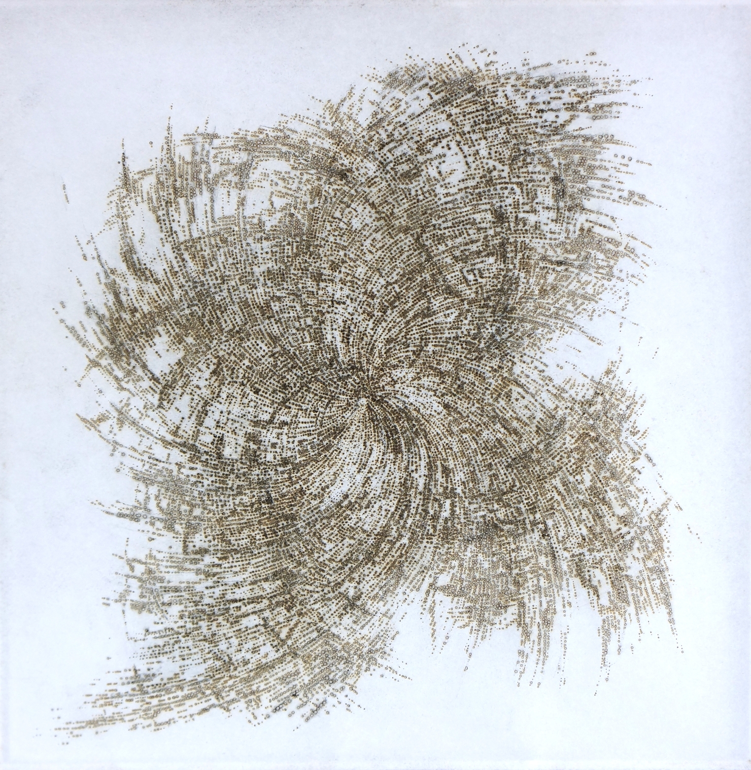 two layers of incense burnt rice paper with mirror backing, 45 x 45 cm