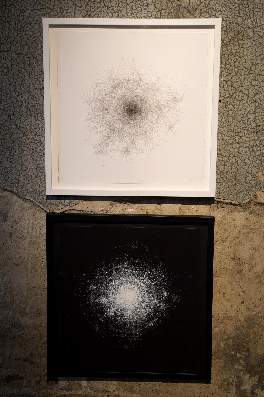 'Pulse (white)' , 'Pulse (Black)' 60 x 60 cm  white ink on black paper, black ink on white paper