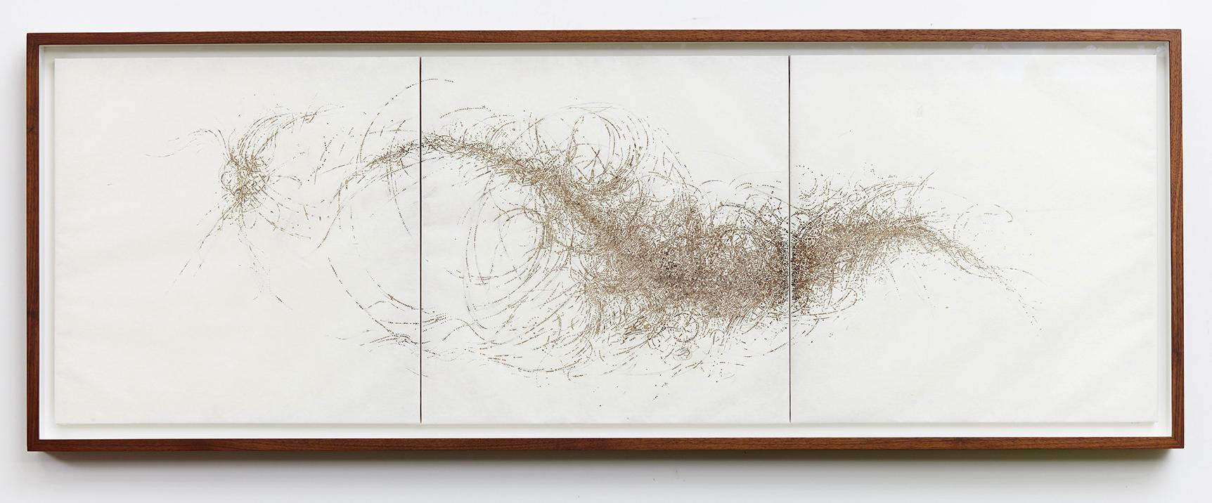 'Murmuration', incense burnt kozo paper, 50 x 150 cm