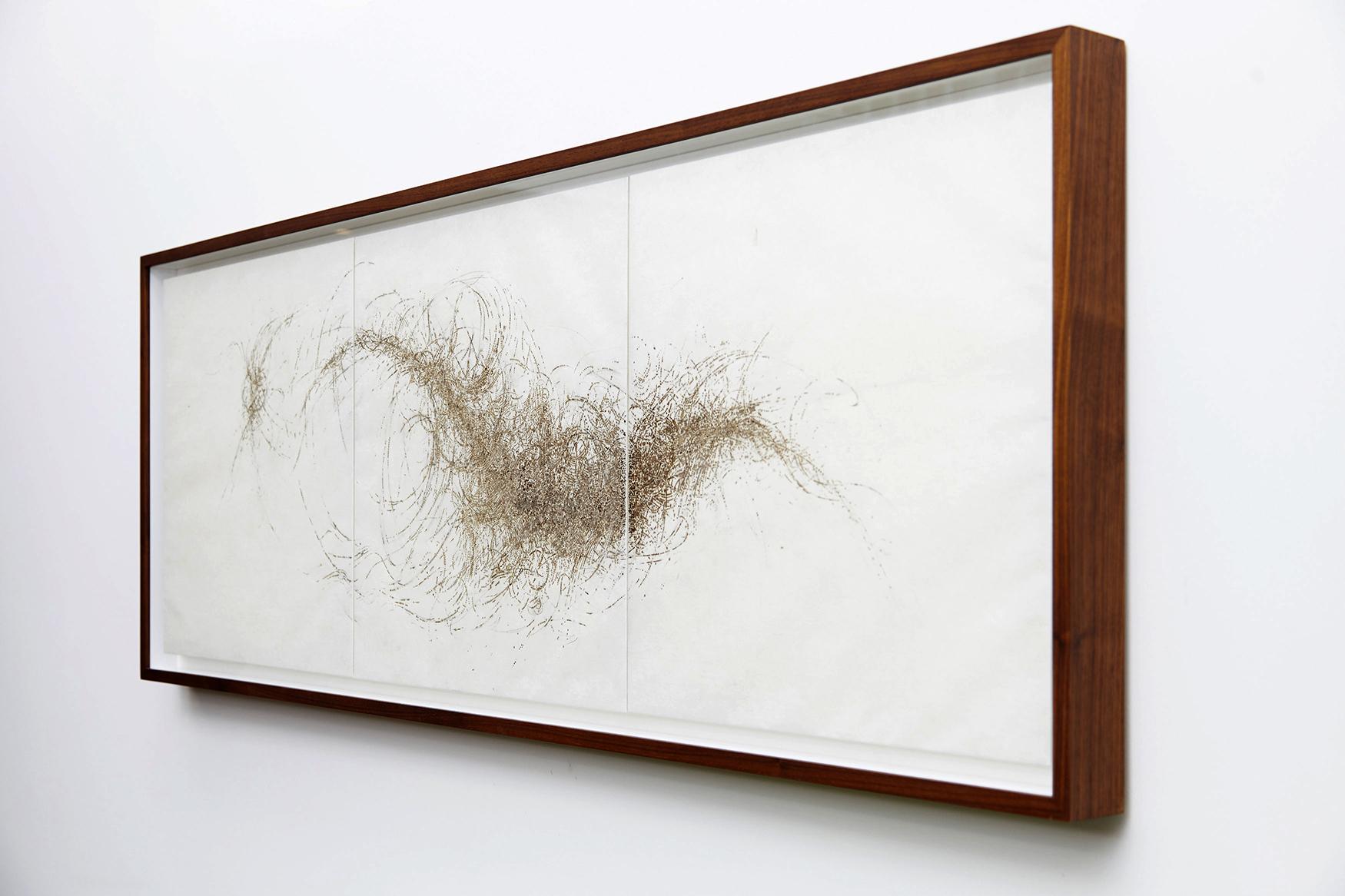incense burnt kozo paper, 50 x 150 cm
