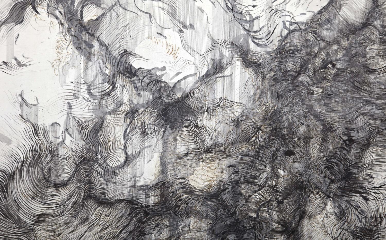 detail,ink, incense burnt gampi paper