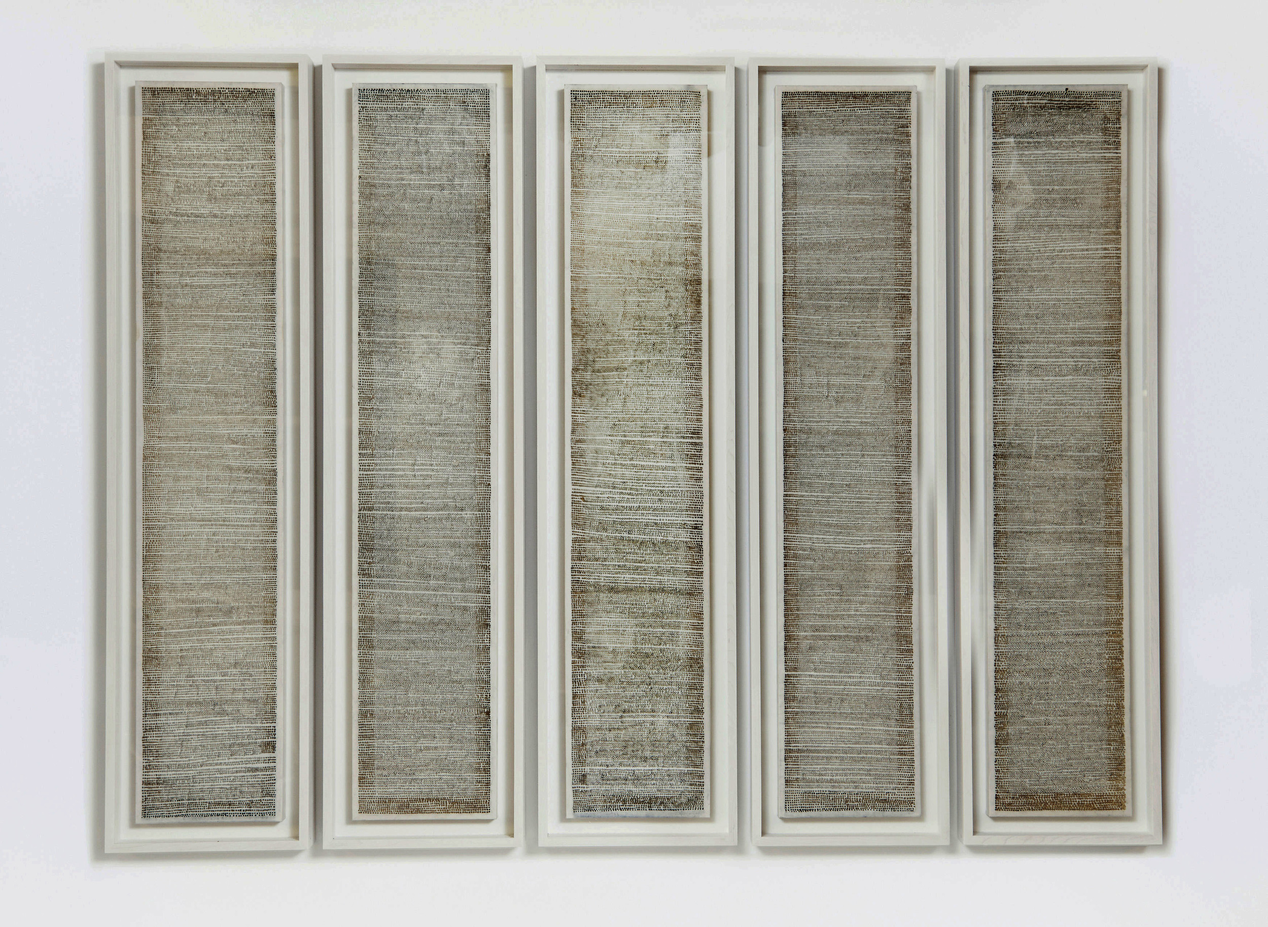 ' 86400 voids [24 hour drawing]', incense burnt rice paper, 33 x 150 cm each screen