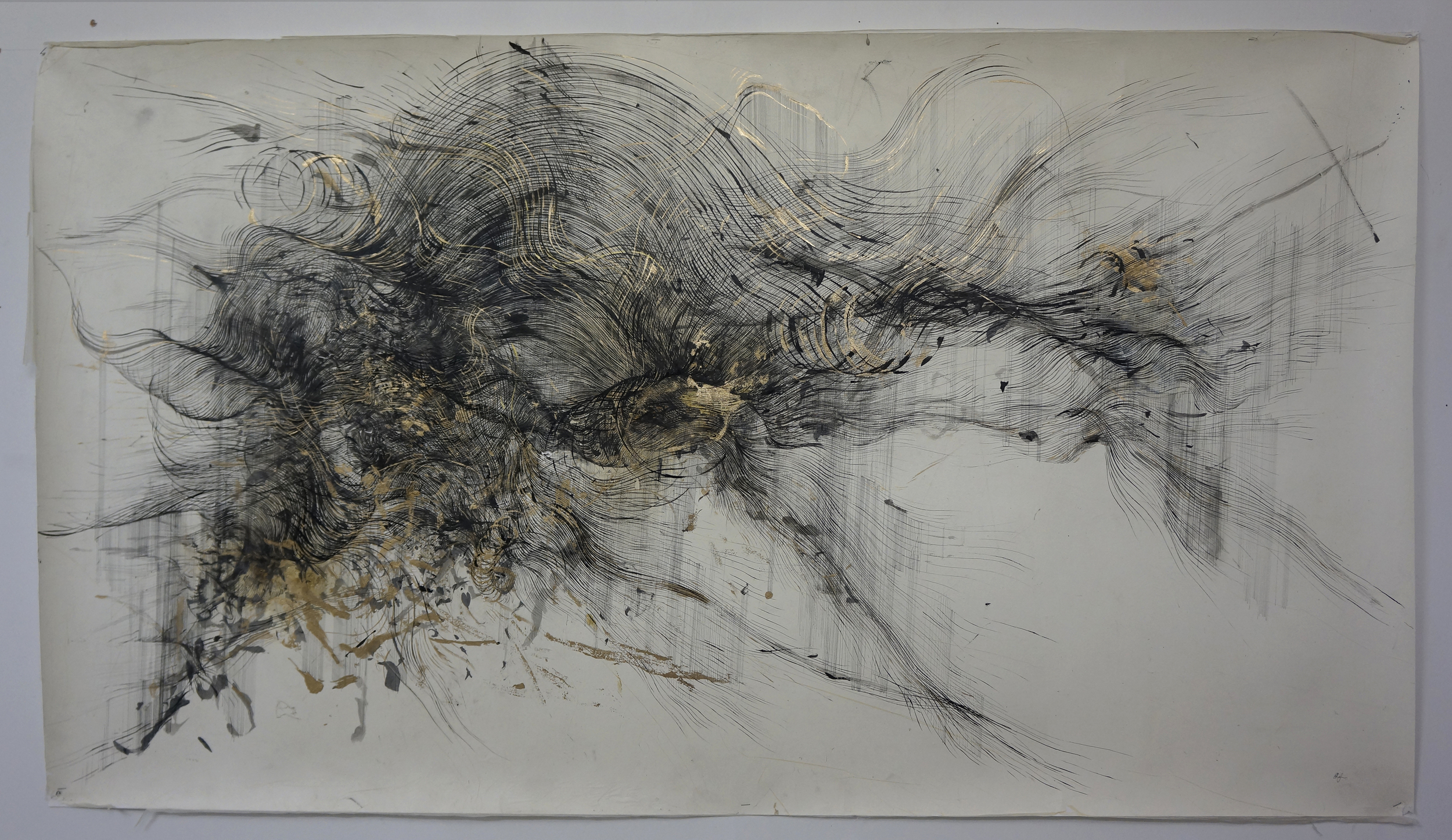 'Mindscape II (gold ) ' , ink, incense burnt gampi paper and gold pigment on paper,  180 x 100 cm (2015)