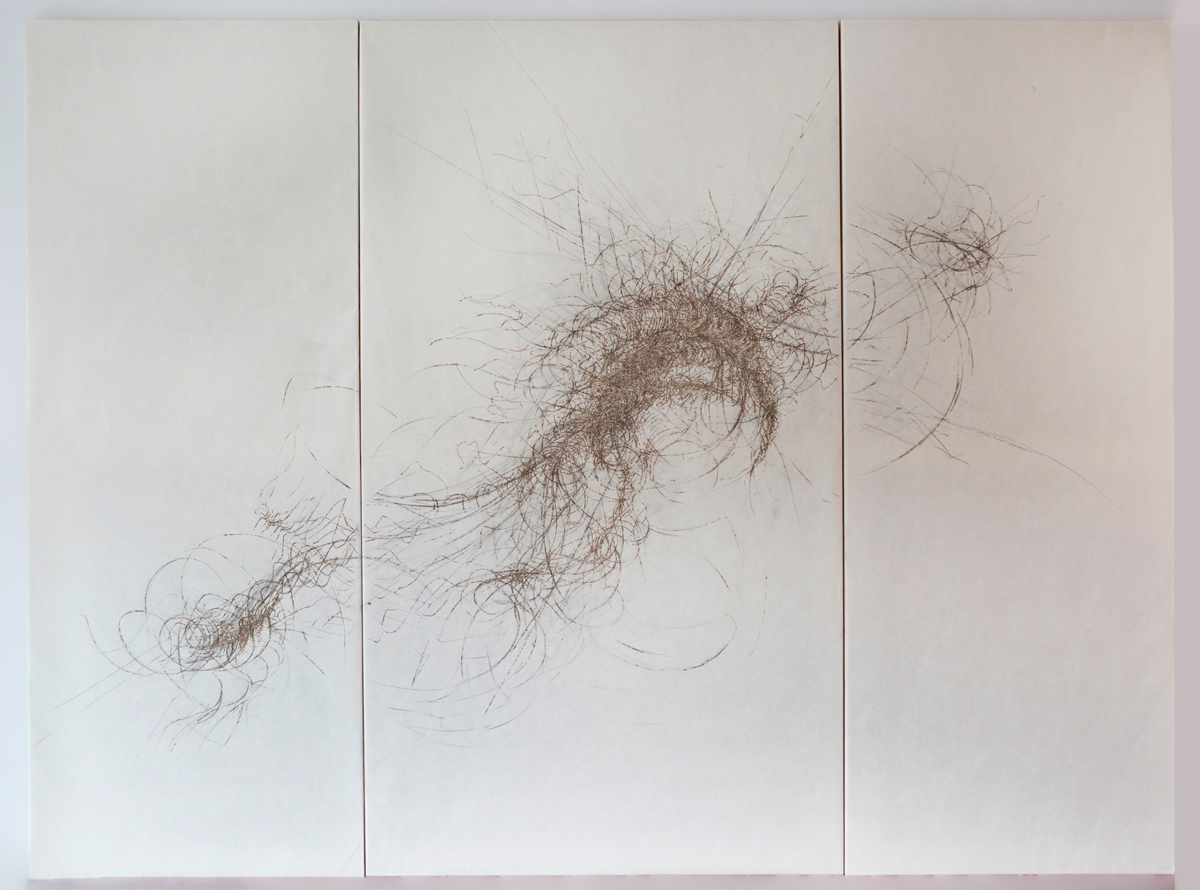 'Murmuration' triptych, incense burnt unbleached kozo paper, 153 x 205 cm