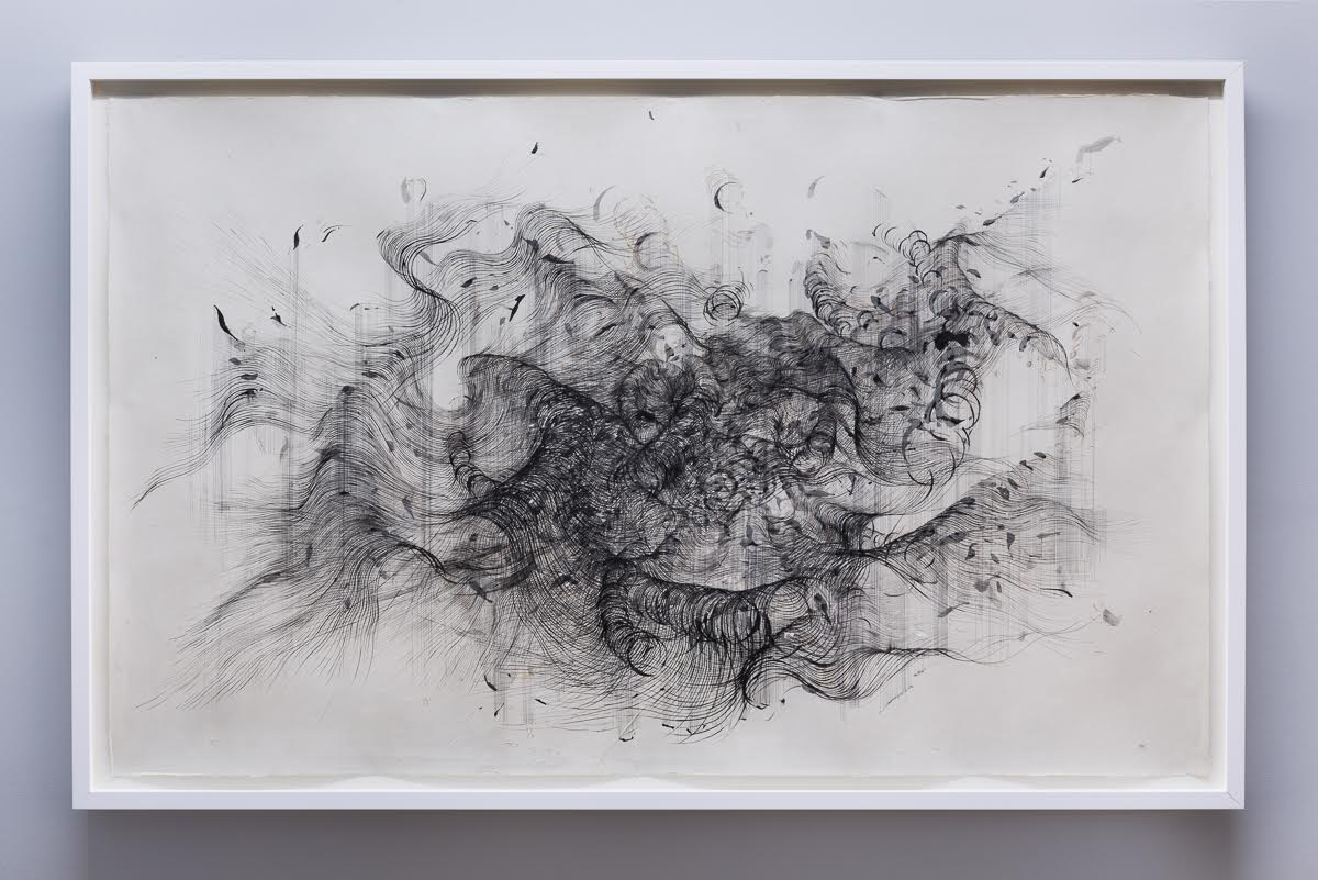 'Anatomy of Thought VI' , Ink and incense burnt gampi paper,162 x 102 cm (2016)