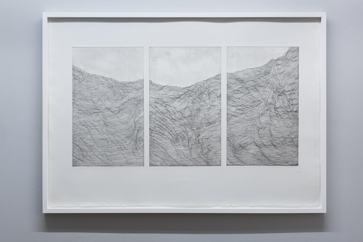 'Topology triptych' (white) , copper plate etching , 83 x 117 cm , (2016)