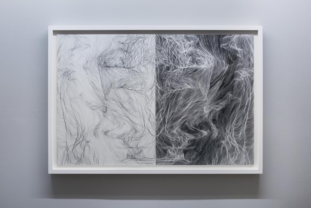 'Cartography of Line' , black ink on paper with giclee print, 83 x 120 cm (2016)