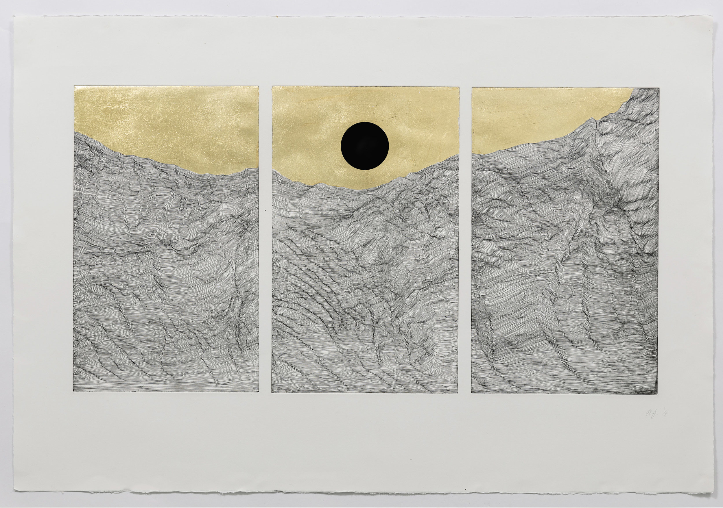 Black Moon  Copper plate etching, gold leaf and black velvet on Somerset etching paper  83 x 117 cm